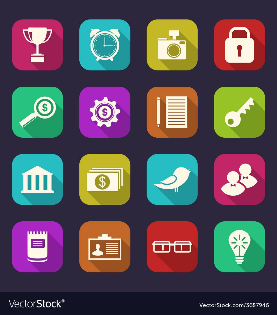 Set flat icons of business office and financial vector | Price: 1 Credit (USD $1)