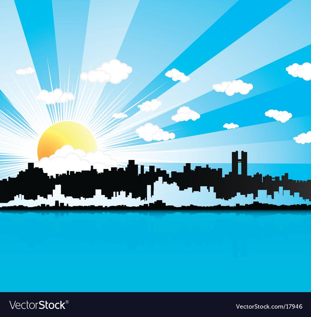 Sunny urban panorama background vector | Price: 1 Credit (USD $1)