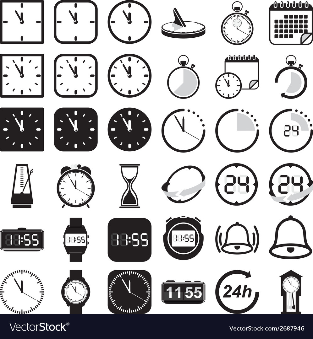 Time and clock icon set vector | Price: 1 Credit (USD $1)