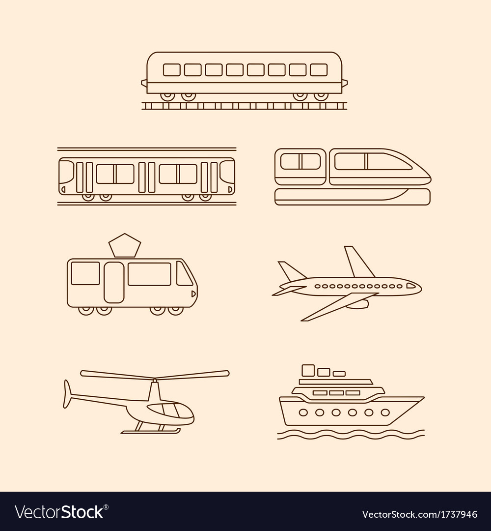 Transportation icons of tram subway train airplane vector | Price: 1 Credit (USD $1)