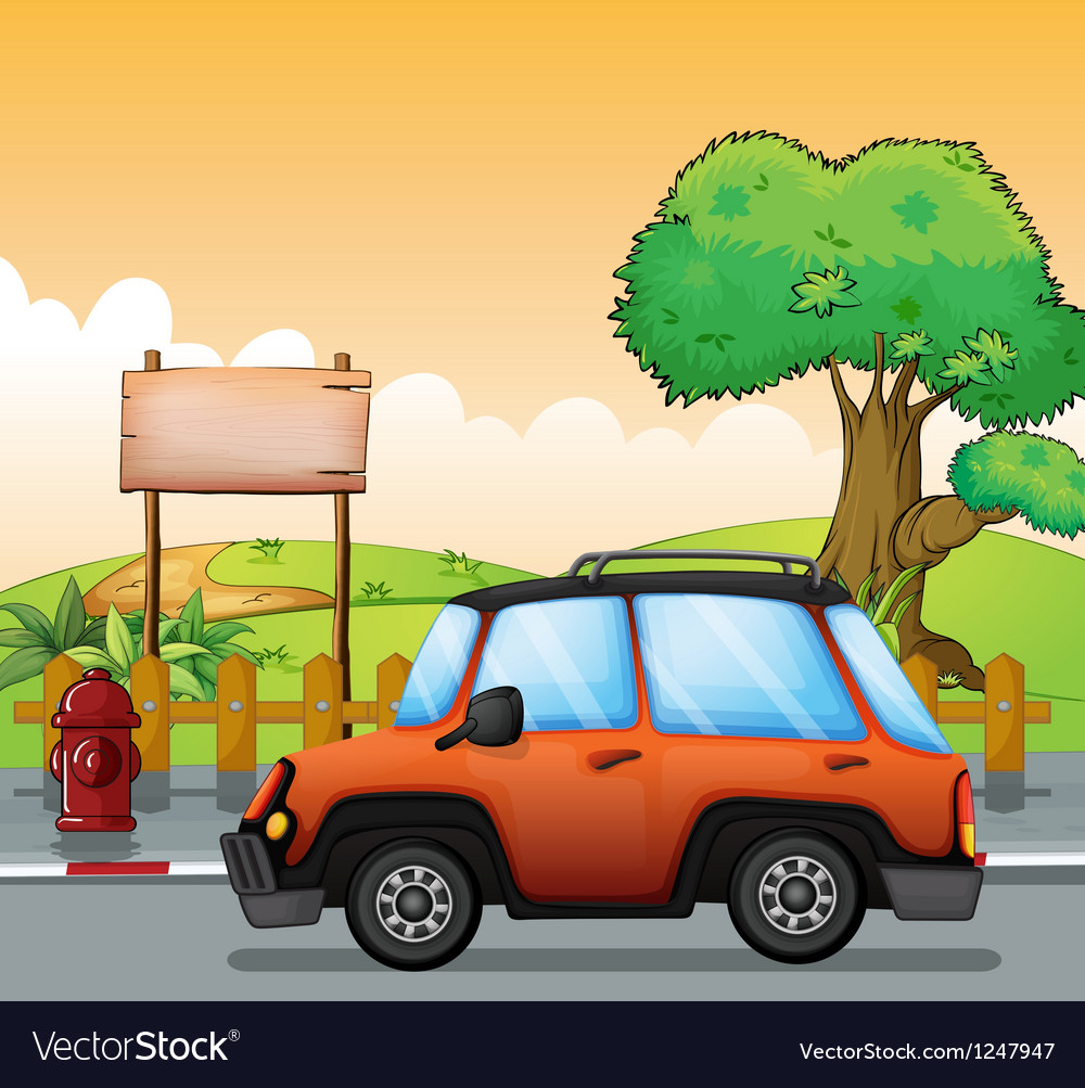 An orange car along the street with a wooden vector | Price: 1 Credit (USD $1)
