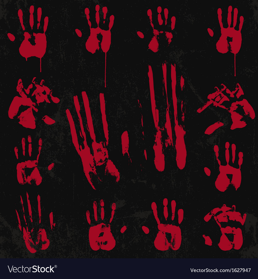 Bloody hand print set 02 vector | Price: 1 Credit (USD $1)