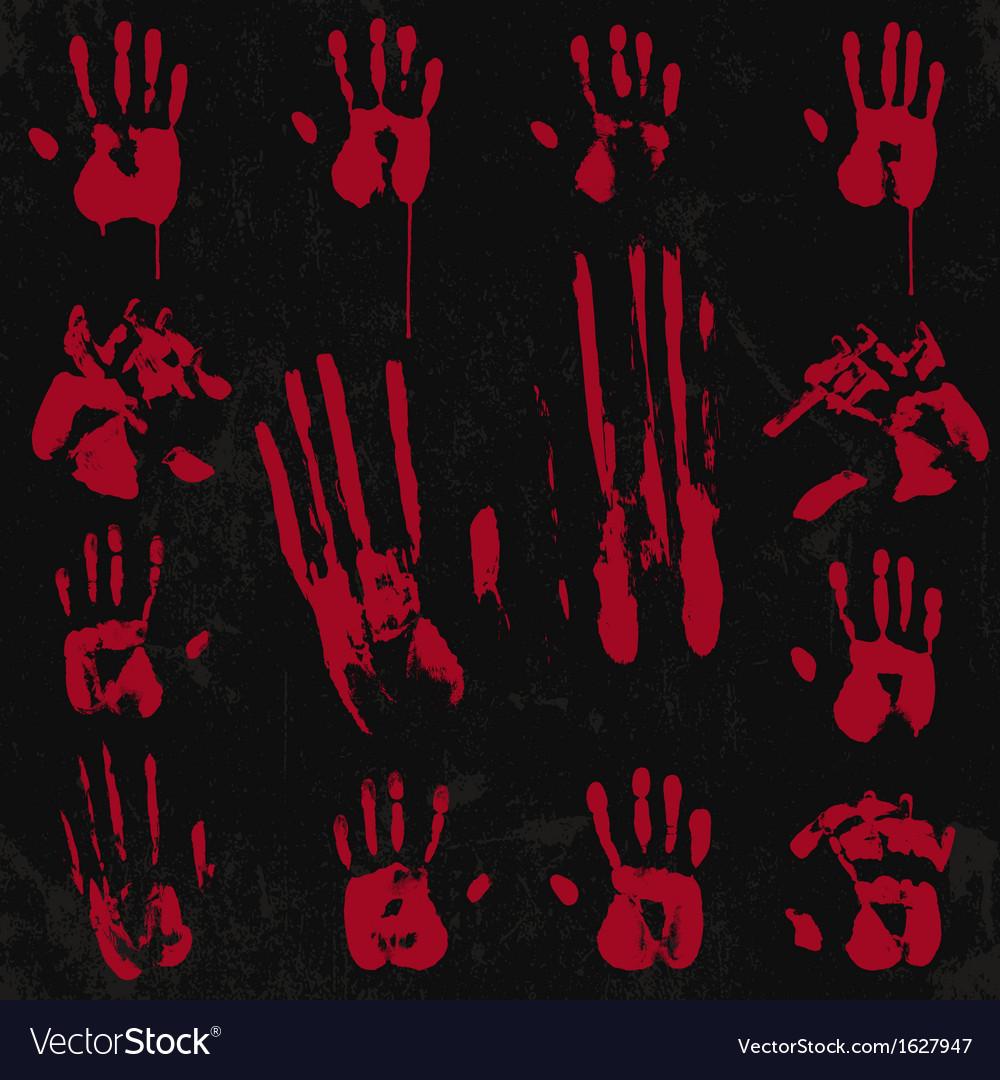 Bloody hand print set 02 vector | Price: 1 Credit (USD $1)