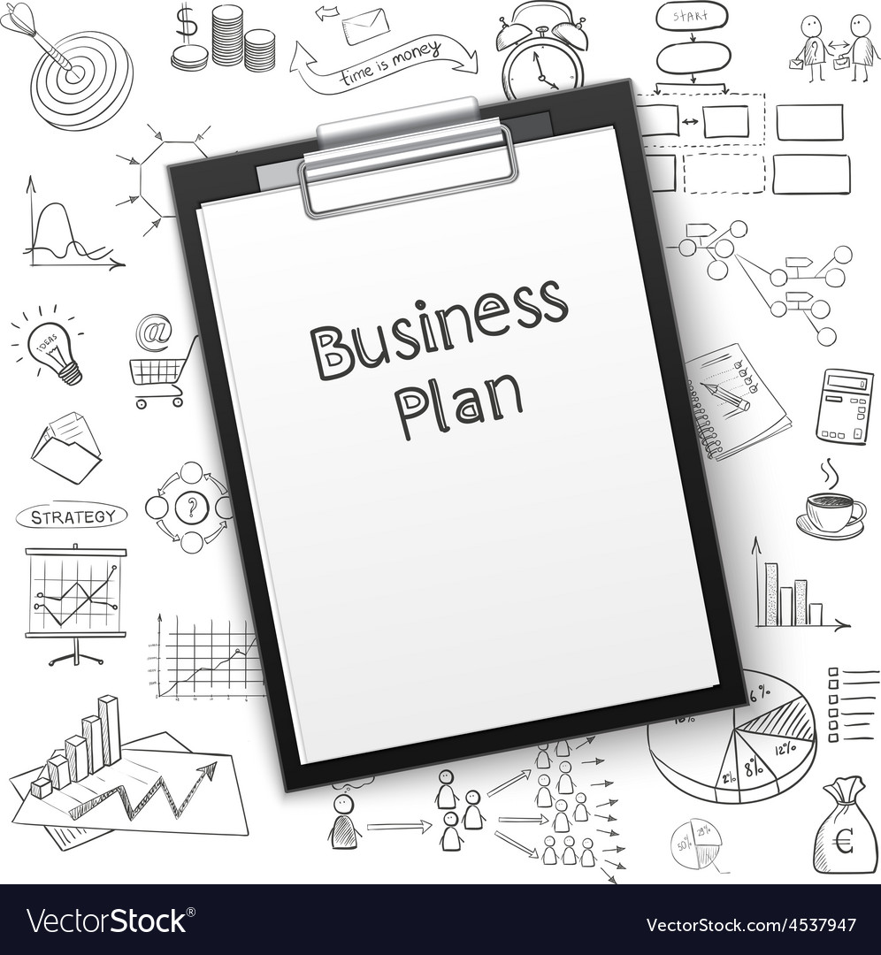 Business plan on tablet with paper and hand draw vector | Price: 1 Credit (USD $1)