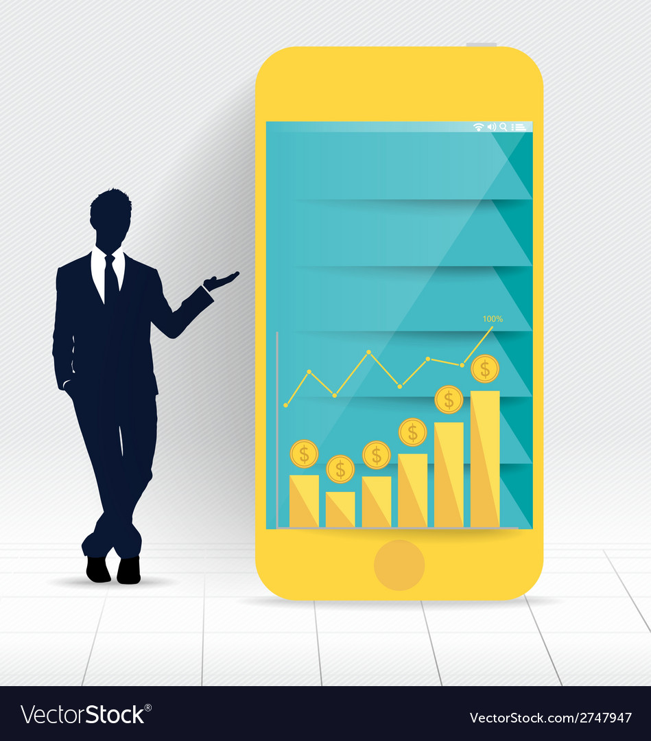 Businessman showing touchscreen device with graph vector | Price: 1 Credit (USD $1)