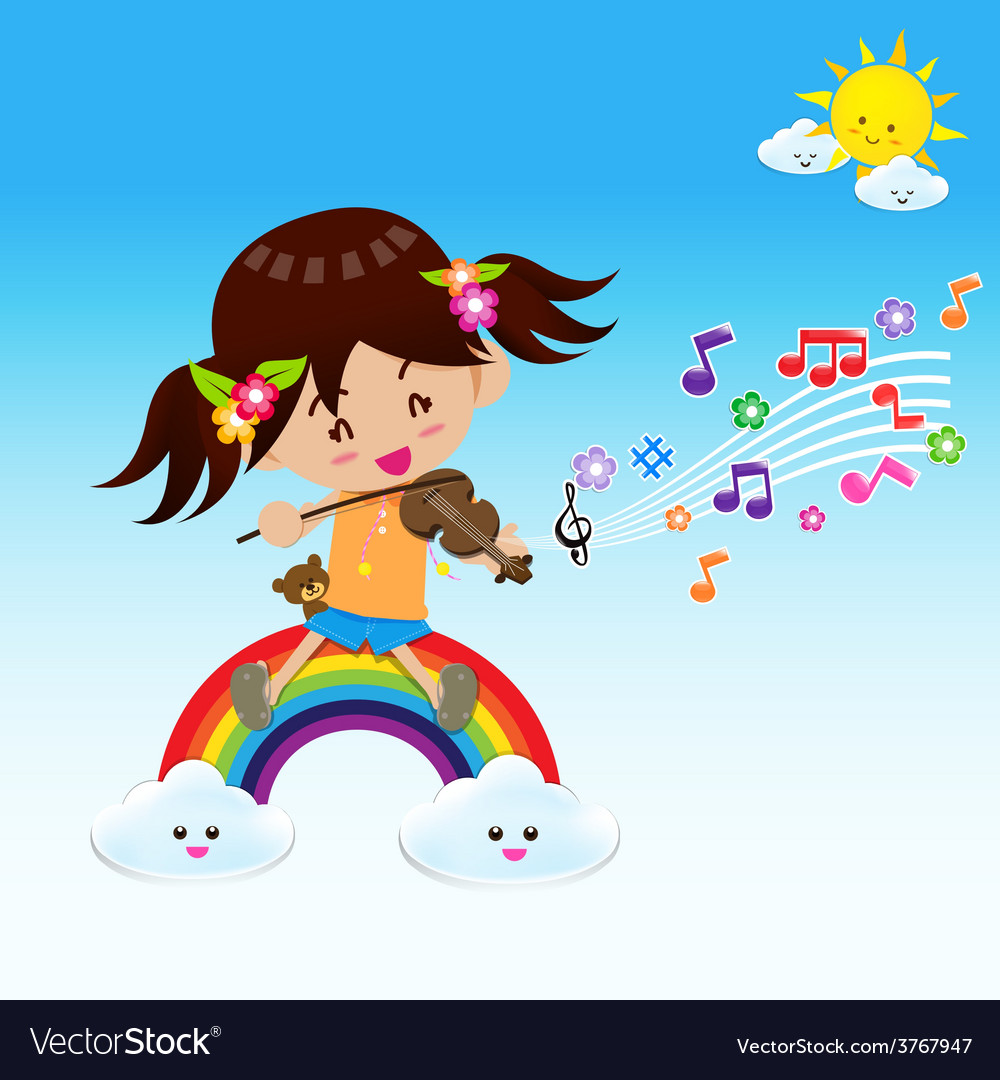 Cute girl play music with sun rainbow and cloud vector | Price: 1 Credit (USD $1)