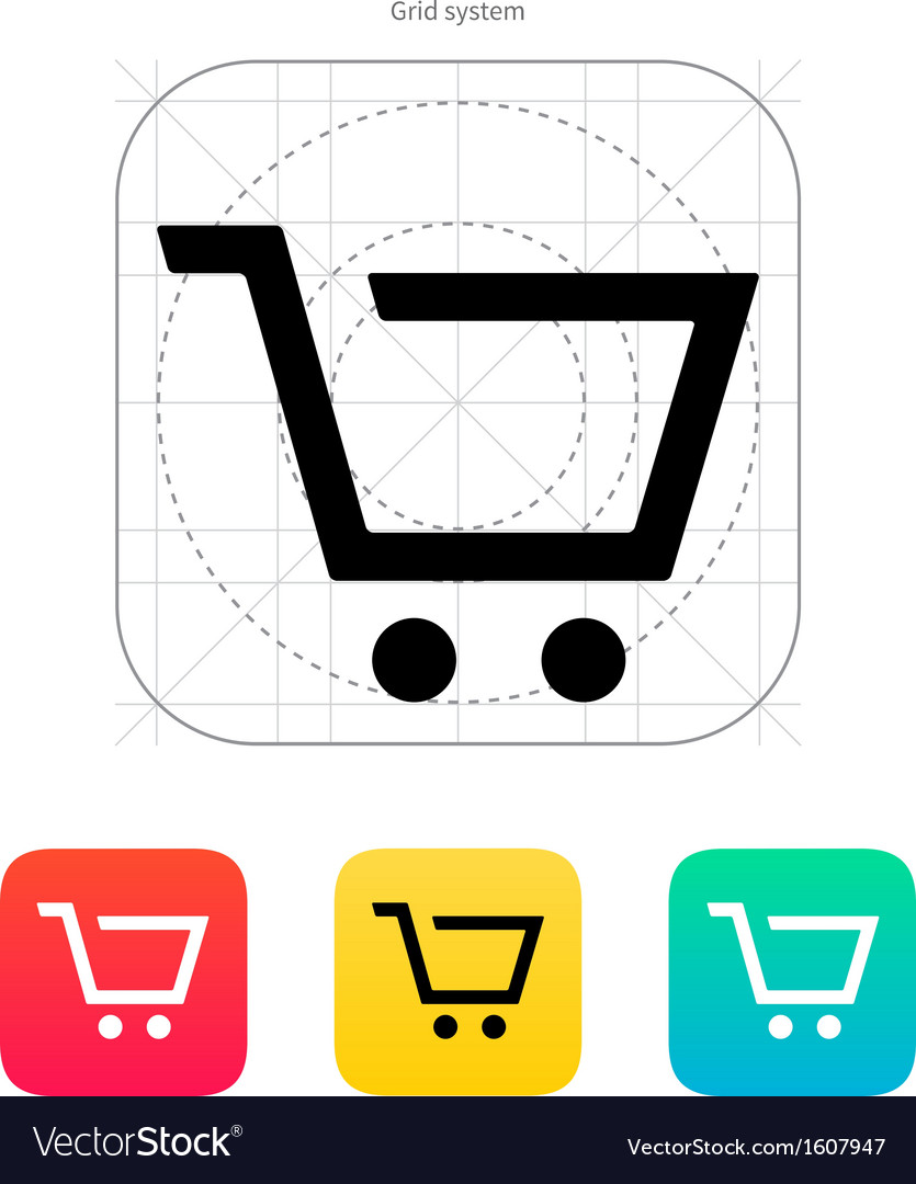 Empty supermarket shopping cart icon vector | Price: 1 Credit (USD $1)