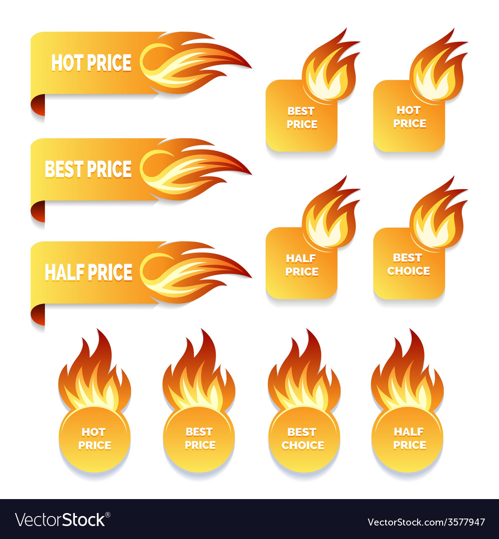 Gold price and sale icons with flames of fire vector | Price: 1 Credit (USD $1)