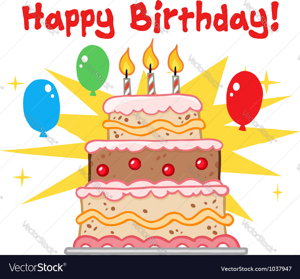 Greeting with birthday cake vector | Price: 1 Credit (USD $1)