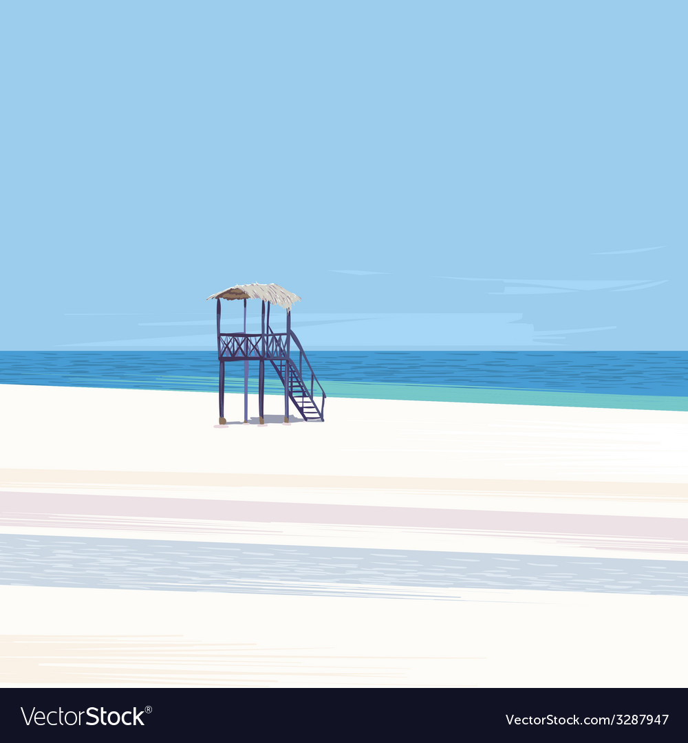 Lifeguard tower on a white sand beach vector | Price: 1 Credit (USD $1)