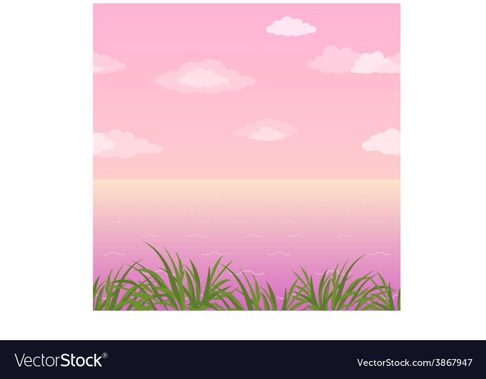 Sea landscape seamless grass and sky vector | Price: 1 Credit (USD $1)
