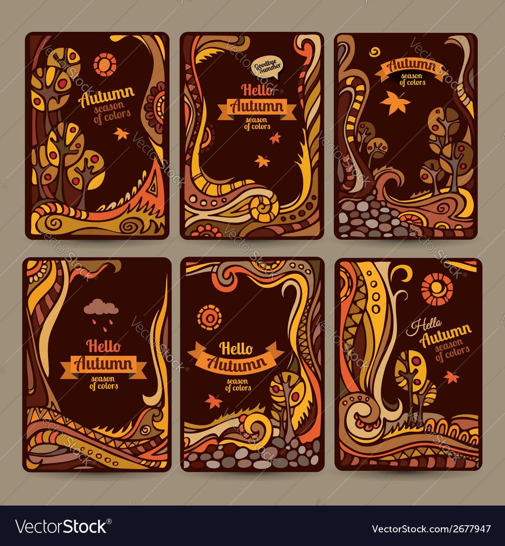 Set of decorative autumn cards design vector | Price: 1 Credit (USD $1)