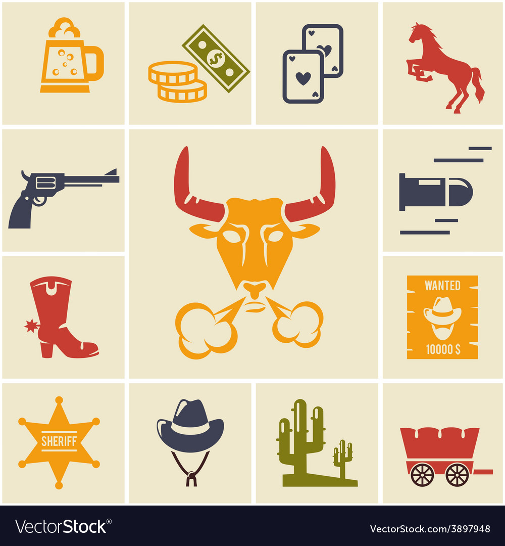 Assortment of wild west icons vector | Price: 1 Credit (USD $1)