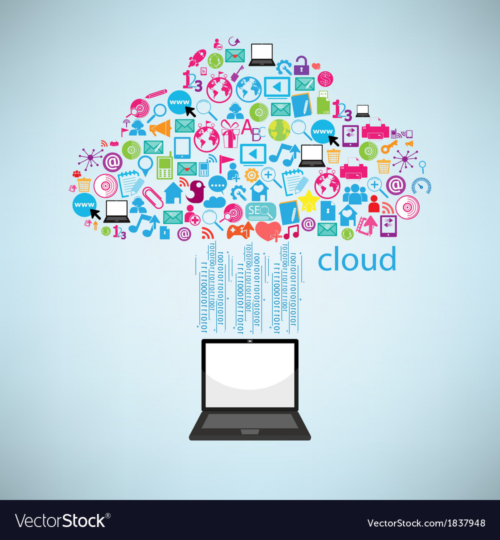 Computer clicking cloud icon concept eps10 vector | Price: 1 Credit (USD $1)