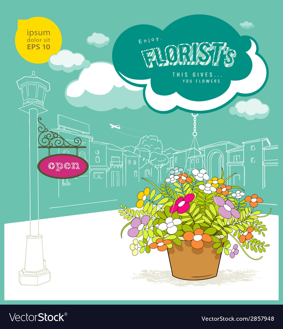 Enjoy florist flower and sketching building vector | Price: 1 Credit (USD $1)