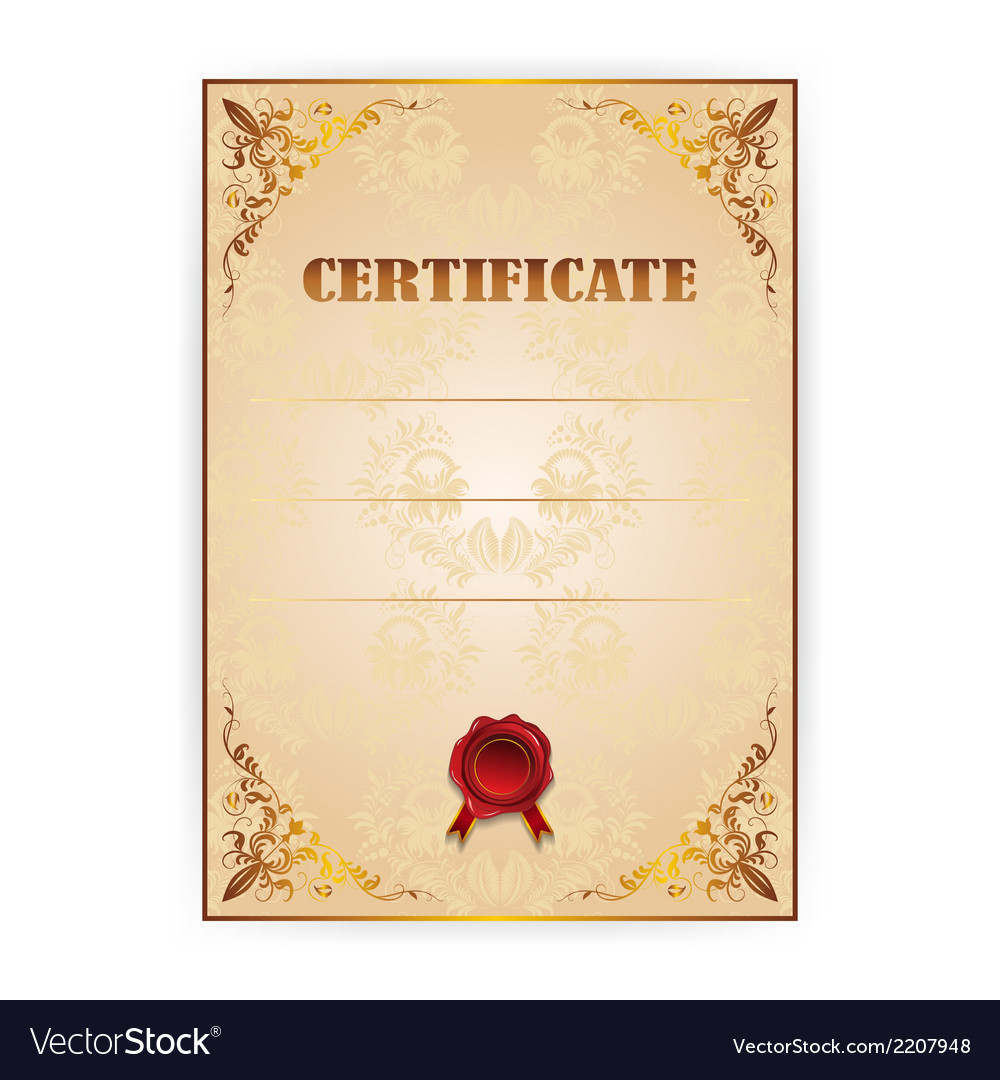 Gold certificate with a laurel wreath vector | Price: 1 Credit (USD $1)