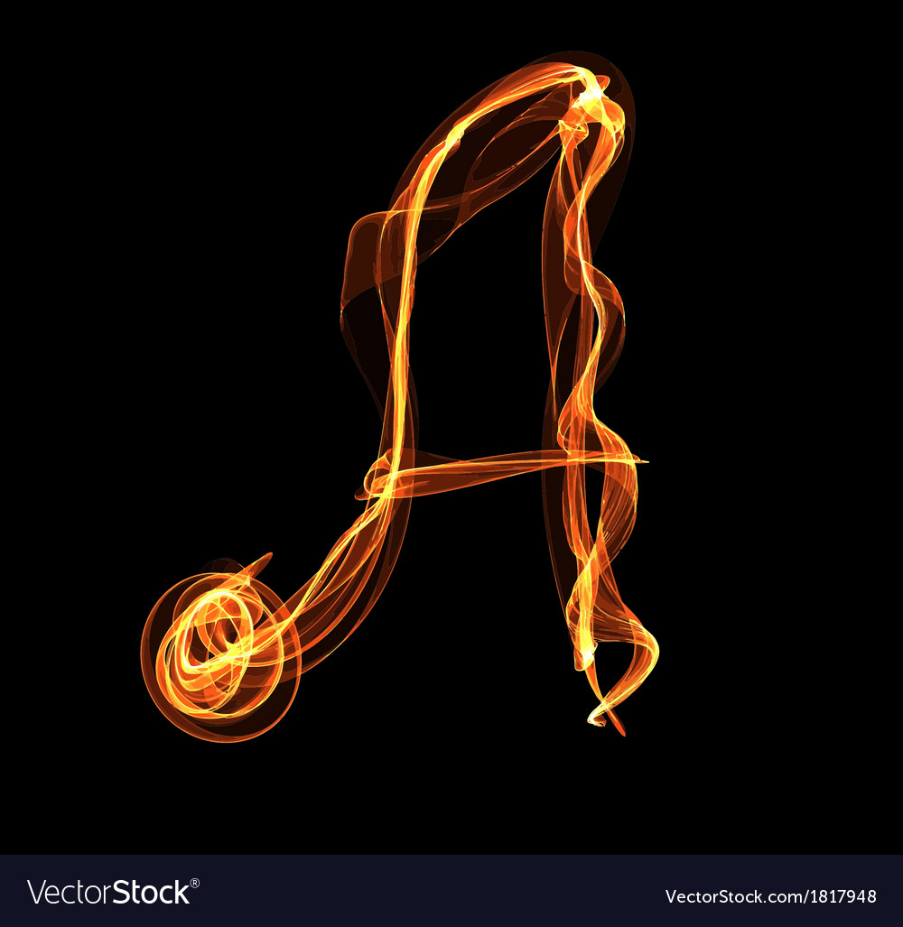 Letter in fire vector | Price: 1 Credit (USD $1)
