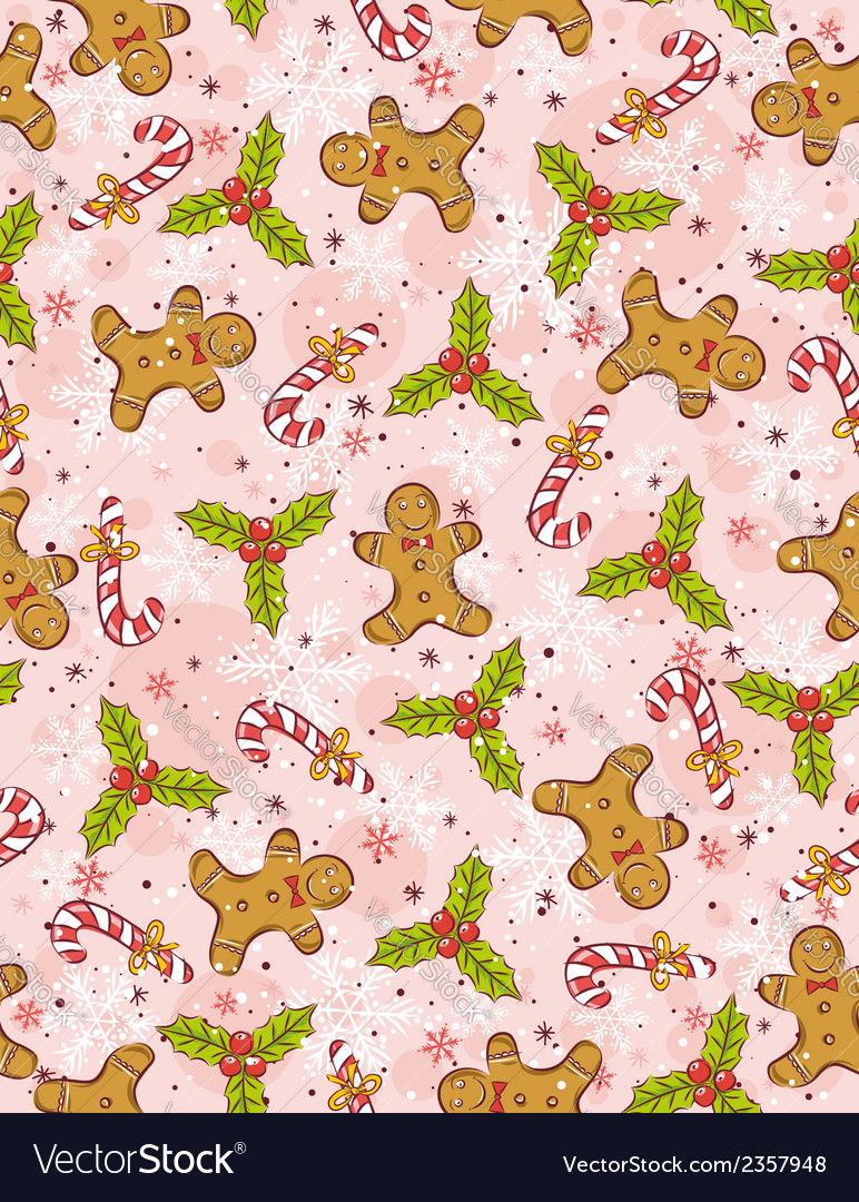 Pink wrapping paper with christmas elements vector | Price: 1 Credit (USD $1)
