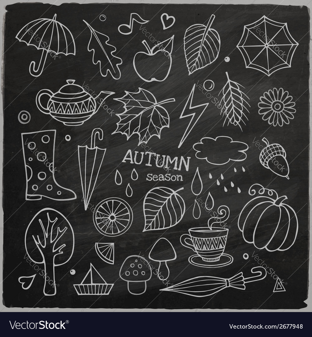 Set of different hand drawn autumn elements vector | Price: 1 Credit (USD $1)