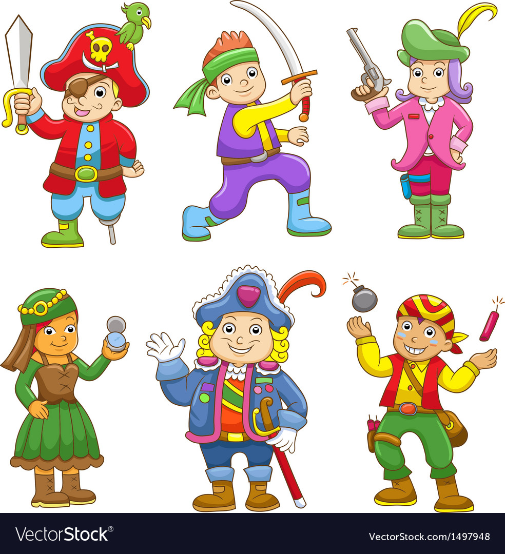Set of pirate child cartoon vector | Price: 3 Credit (USD $3)