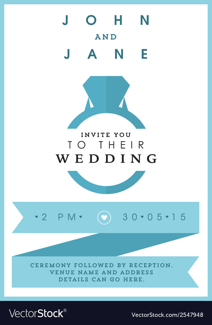 Wedding invitation blue ring theme vector | Price: 1 Credit (USD $1)