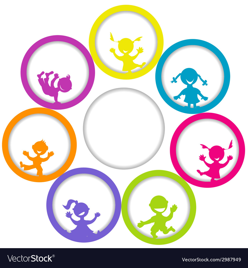 Circle frame with children and place for your text vector | Price: 1 Credit (USD $1)