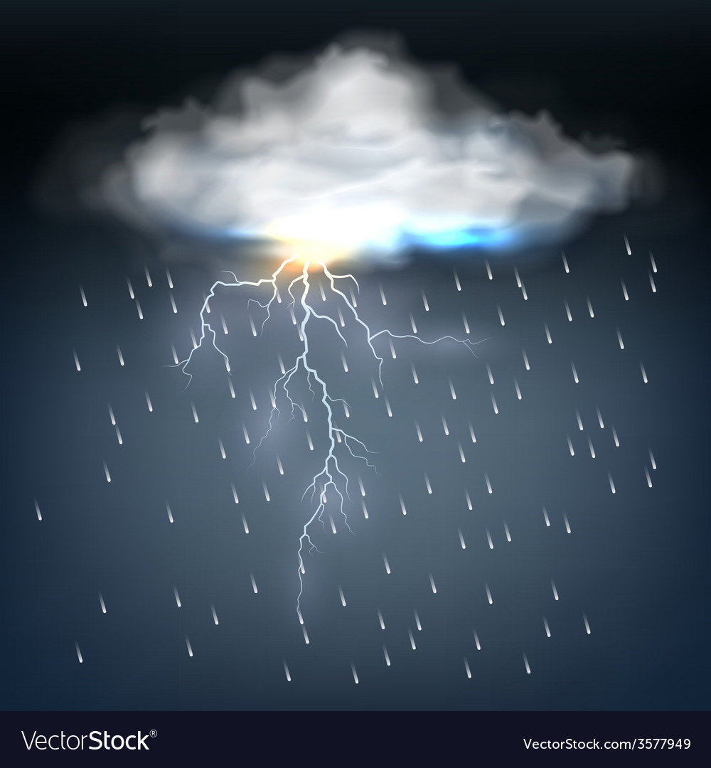 Cloud with rain and a lightning bolt vector | Price: 1 Credit (USD $1)