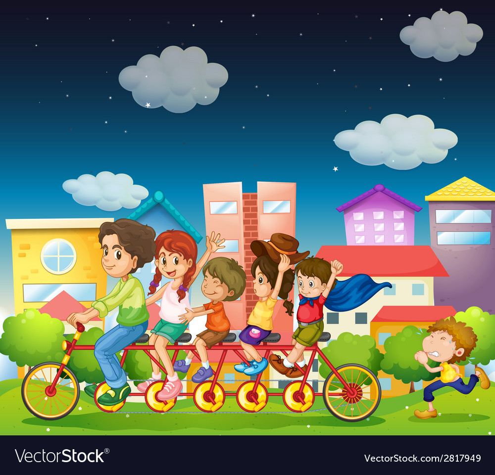 Family riding bike vector | Price: 3 Credit (USD $3)