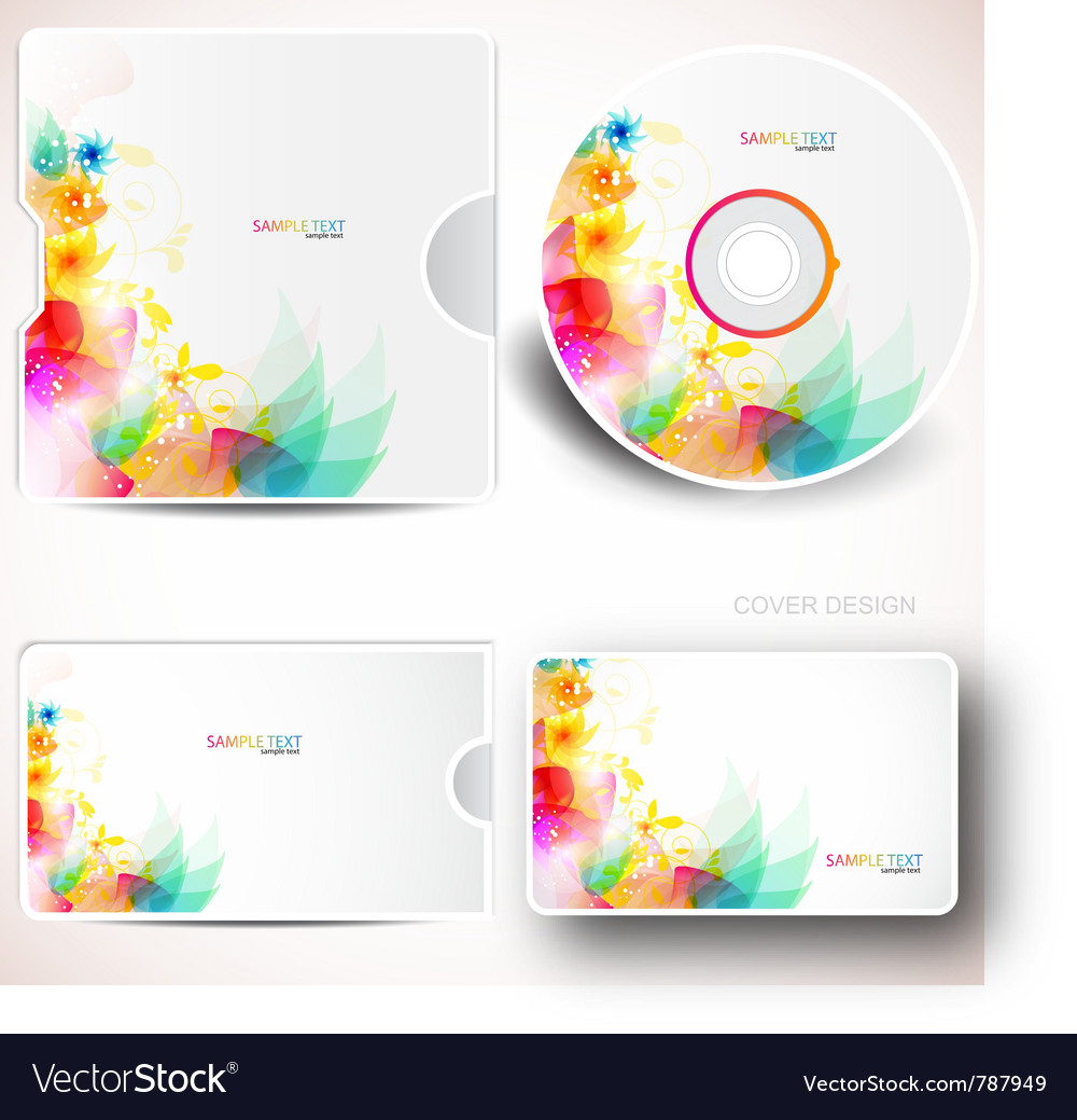 Floral cd disc cover template vector | Price: 3 Credit (USD $3)