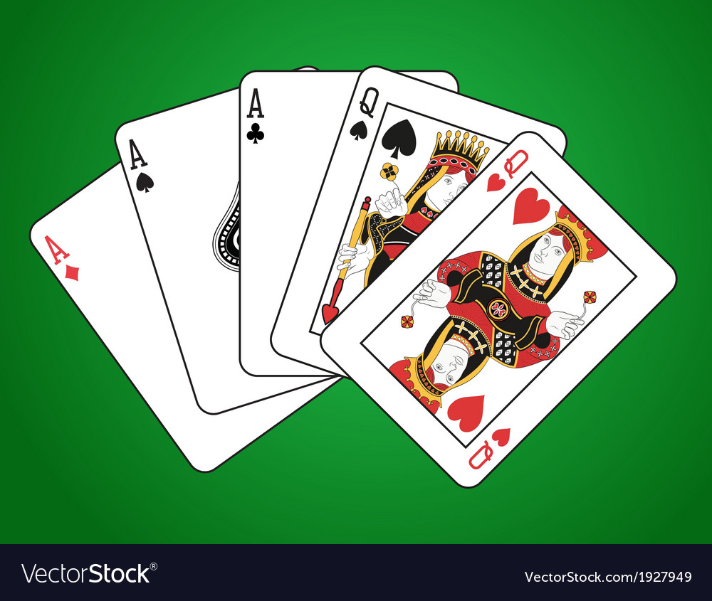 Full house of three aces and two queens vector | Price: 1 Credit (USD $1)