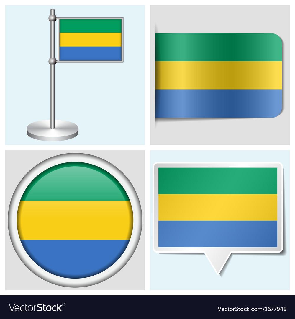 Gabon flag - sticker button label flagstaff vector   Price: 1 Credit (USD $1)