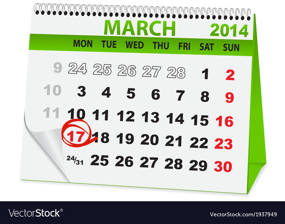 Holiday calendar in st patricks day vector | Price: 1 Credit (USD $1)
