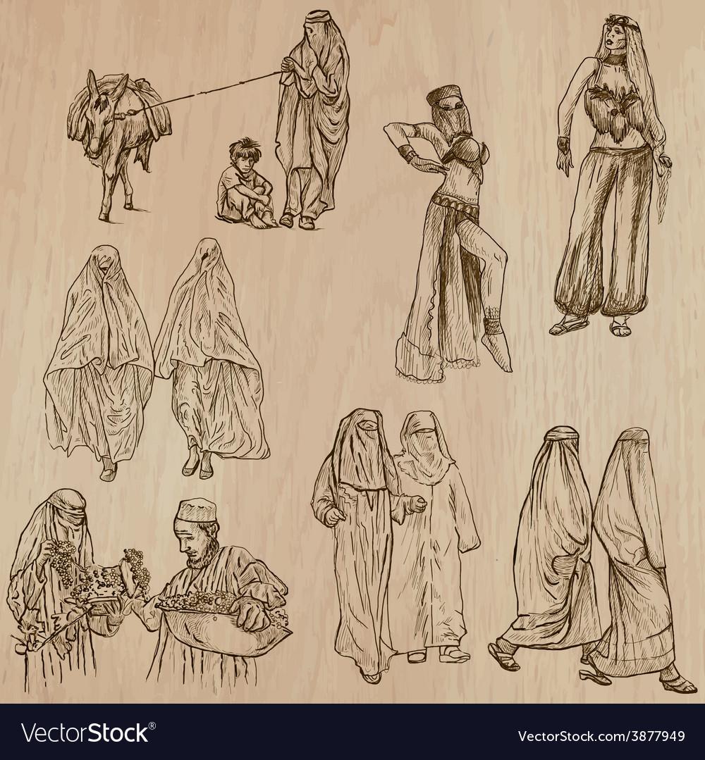 Muslim women - hand drawn vector | Price: 1 Credit (USD $1)