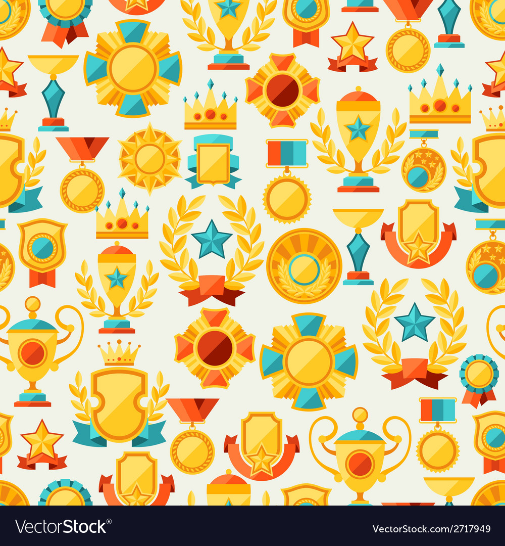 Seamless pattern with trophy and awards in flat vector | Price: 1 Credit (USD $1)