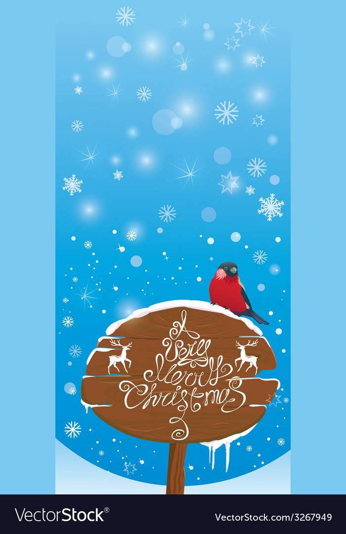 Vretical card with bullfinch bird and wooden sign vector | Price: 1 Credit (USD $1)
