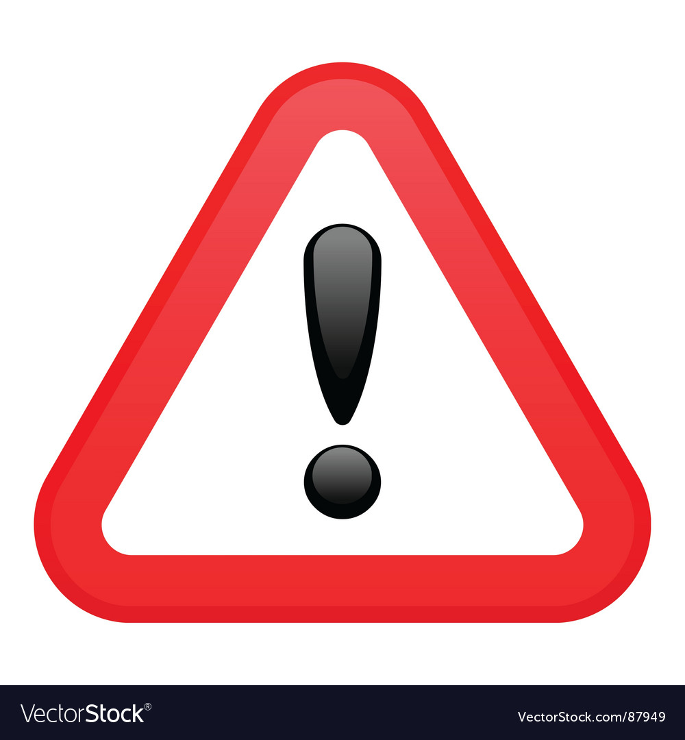 Warning red triangular sign vector | Price: 1 Credit (USD $1)