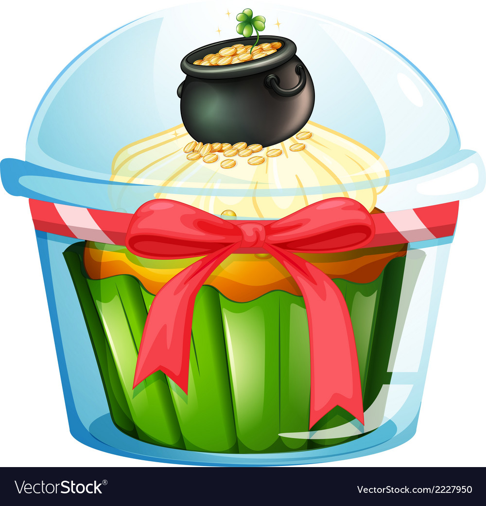 A cupcake with a pot of coins vector | Price: 1 Credit (USD $1)