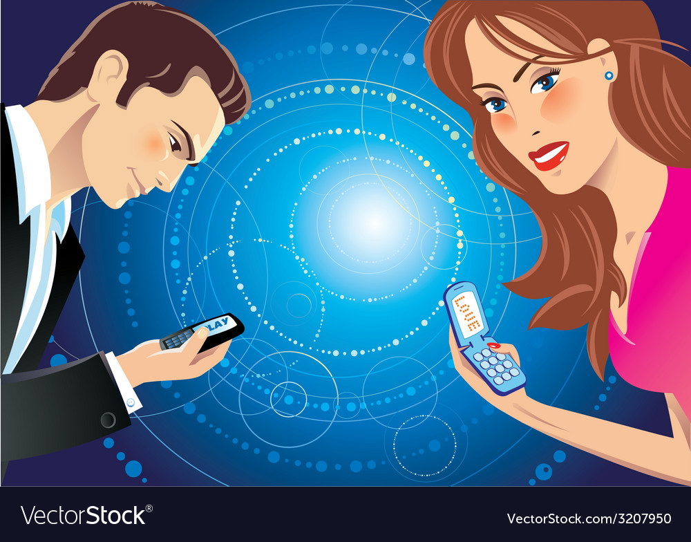 A girl and a guy talking through sms vector | Price: 1 Credit (USD $1)