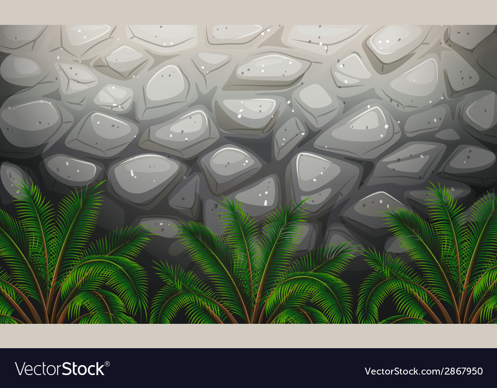A stonewall with plants vector | Price: 1 Credit (USD $1)