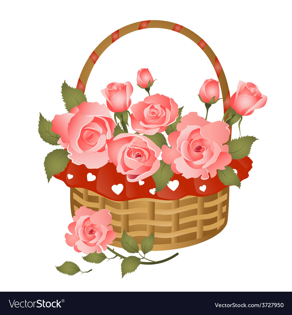 Basket with bunch of roses vector | Price: 1 Credit (USD $1)