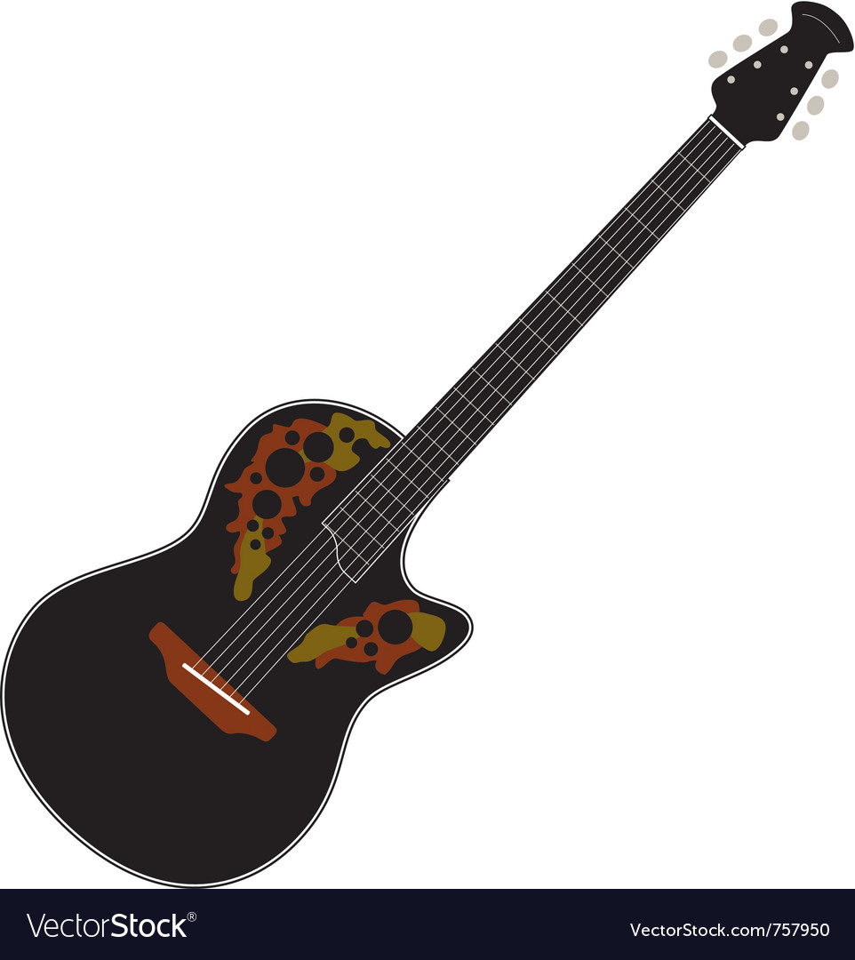 Black acoustic guitar vector | Price: 1 Credit (USD $1)