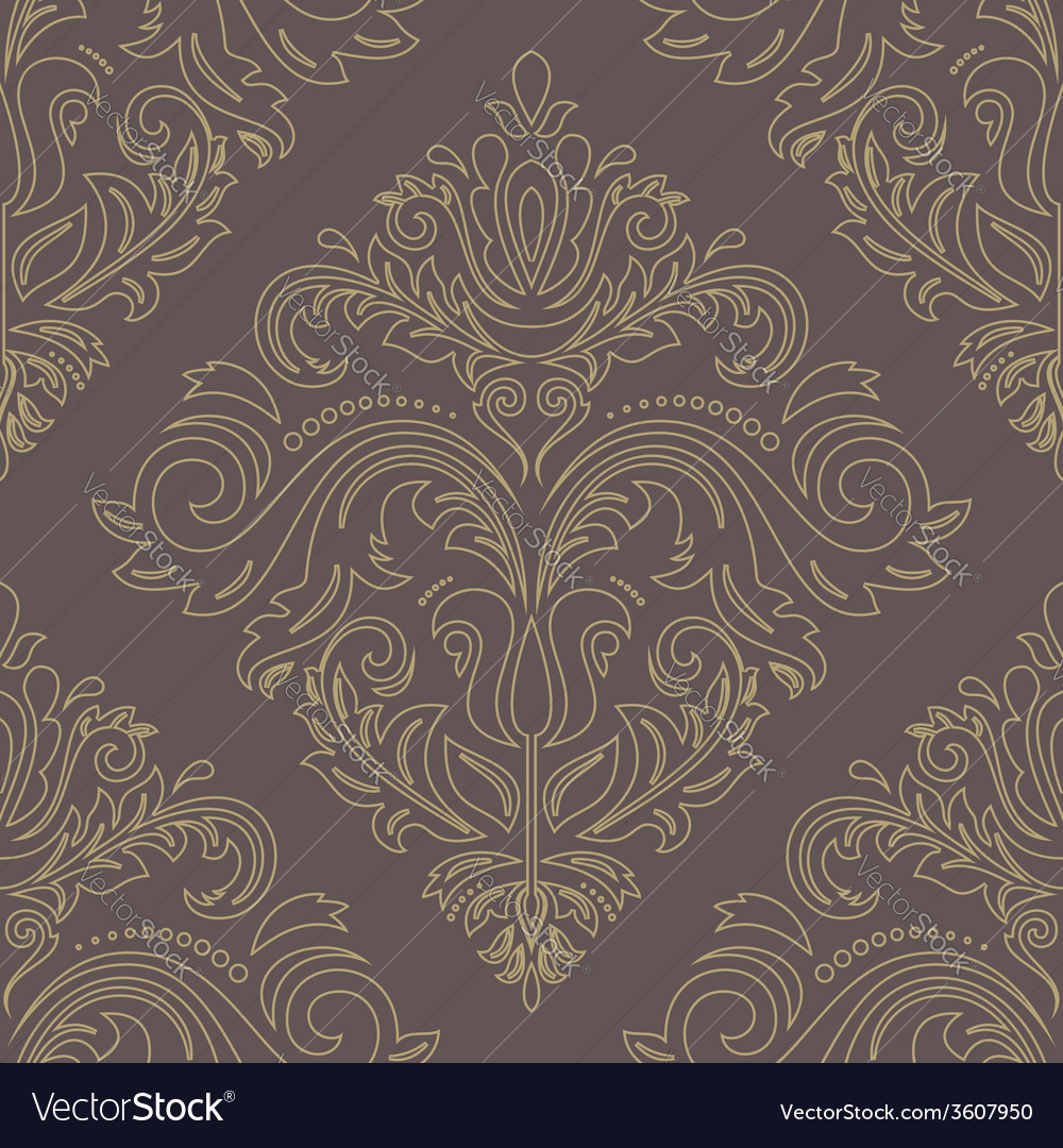 Damask golden seamless pattern orient background vector | Price: 1 Credit (USD $1)