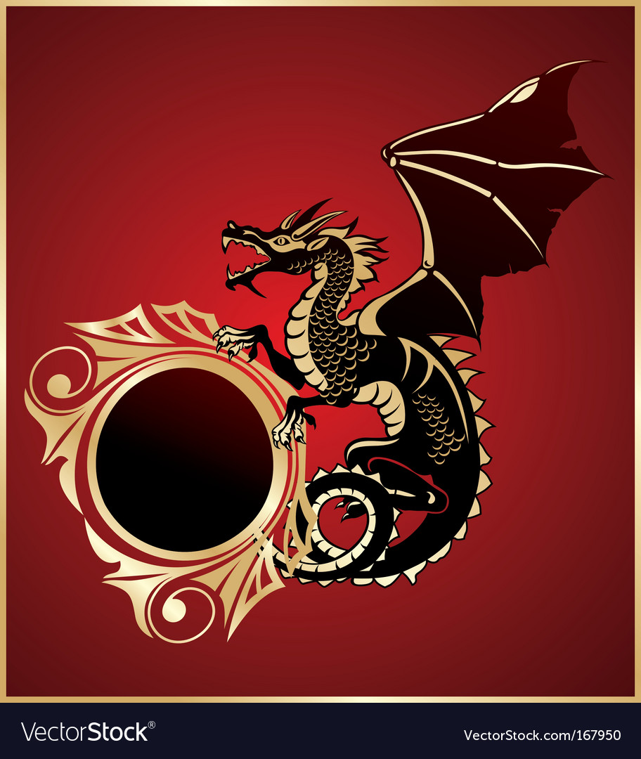 Heraldic sign with dragon vector | Price: 1 Credit (USD $1)
