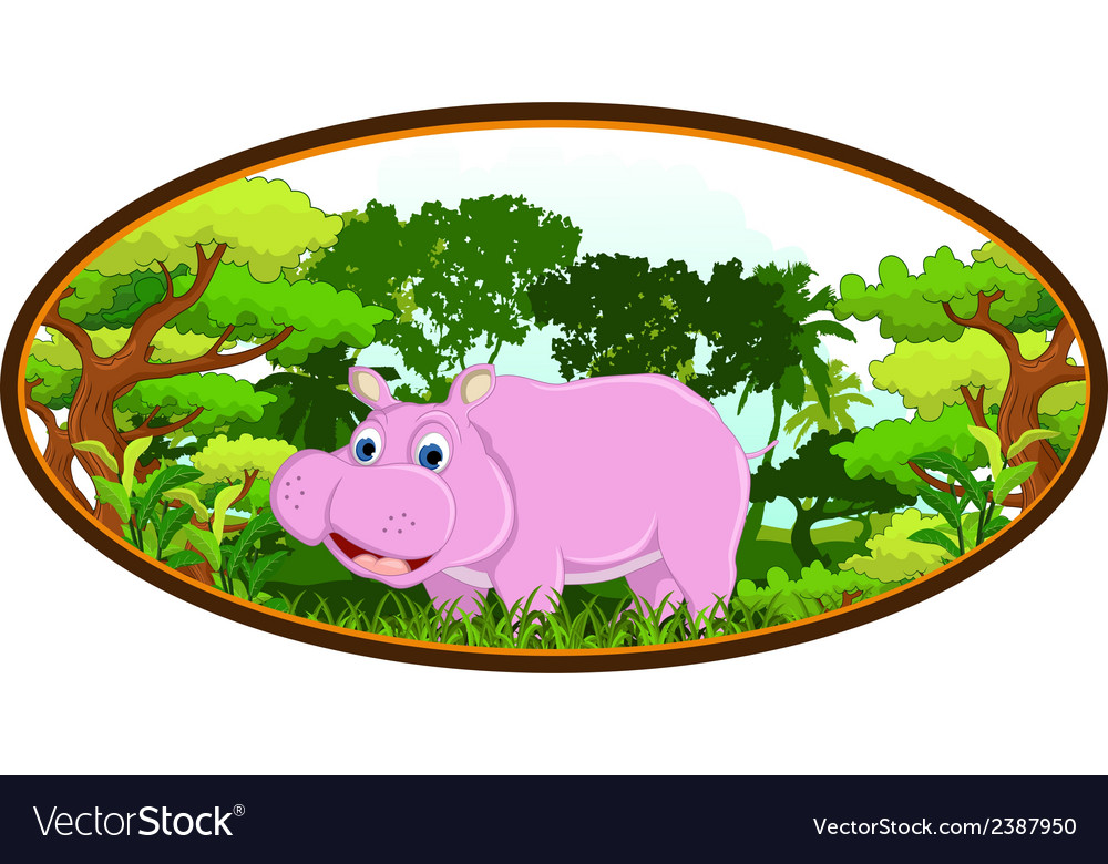 Hippo with forest background vector | Price: 1 Credit (USD $1)