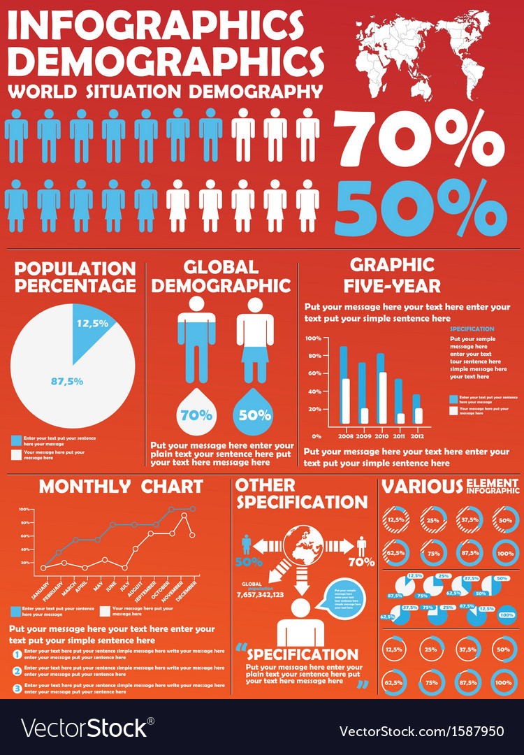 Infographic demographic modern style 8 vector | Price: 1 Credit (USD $1)