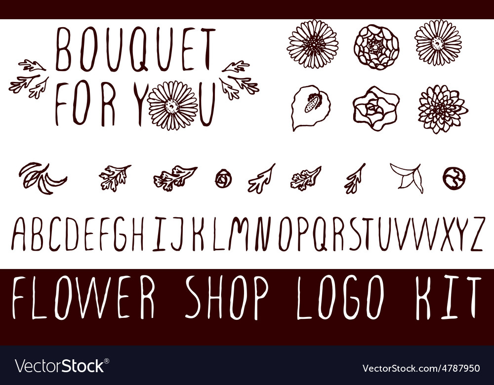 Logo kit for flower shops vector   Price: 1 Credit (USD $1)