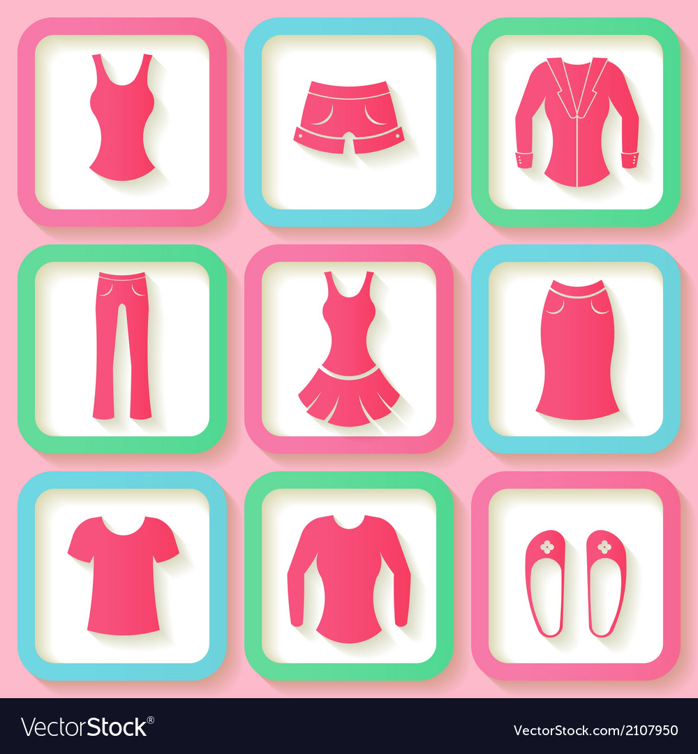 Set of 9 pink icons of female clothing vector | Price: 1 Credit (USD $1)