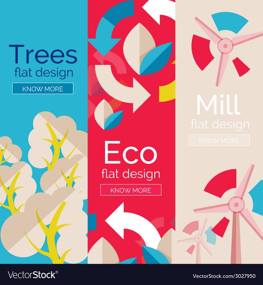 Set of flat design eco concepts vector | Price: 1 Credit (USD $1)