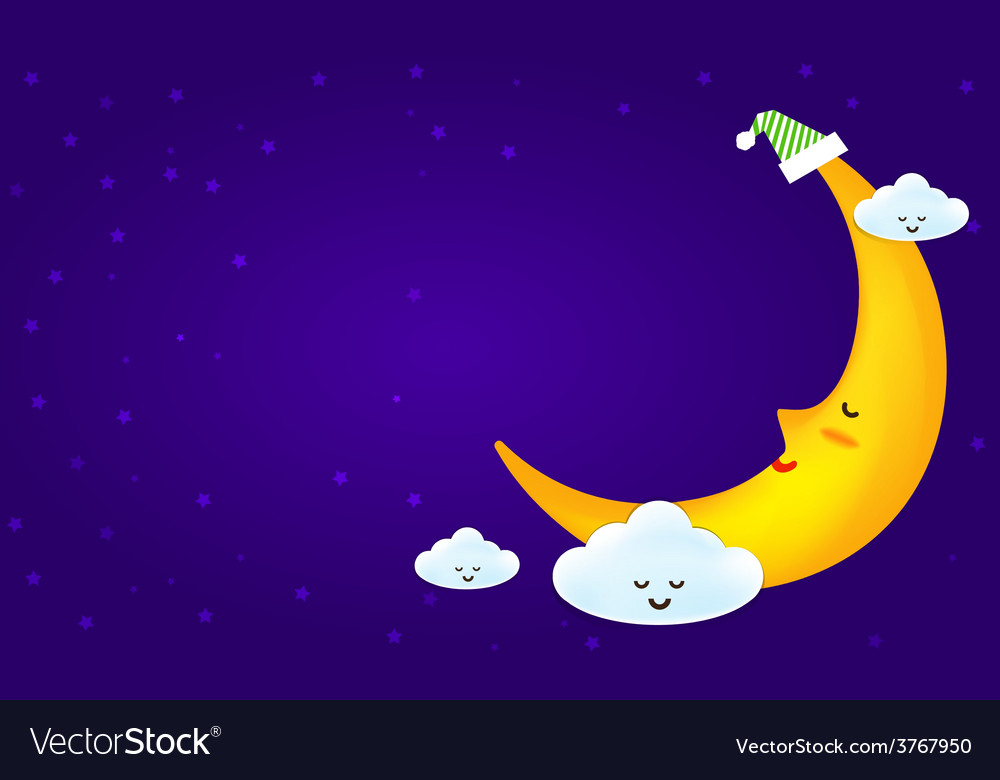 Sleeping moon and clound on the star night vector | Price: 1 Credit (USD $1)