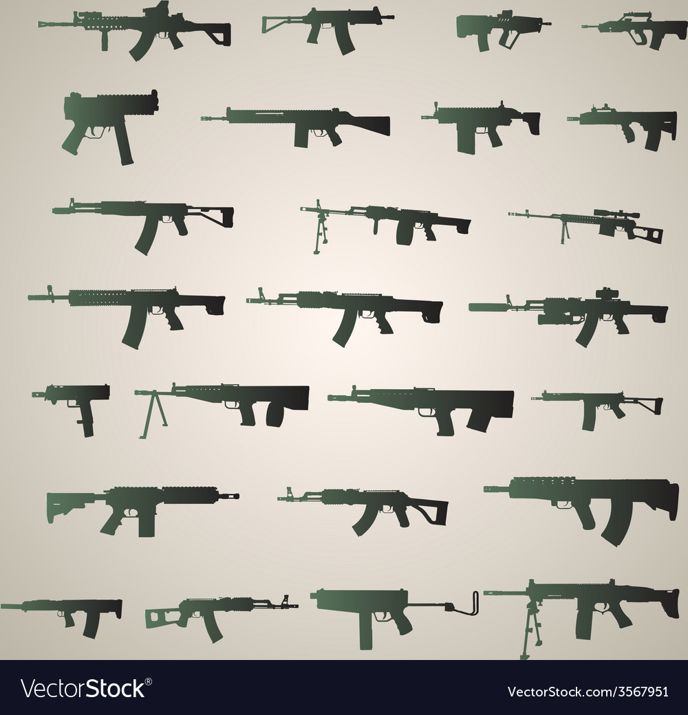 Assault rifles silhouette vector | Price: 1 Credit (USD $1)